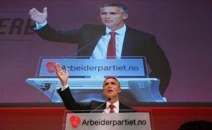 Le Premier ministre travailliste sortant, Jens Stoltenberg en meeting le 9 septembre 2013 à Oslo