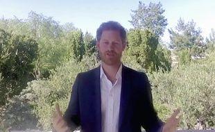 Le prince Harry lors d'une visio-conférence en juillet 2020