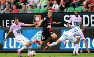 Le Rennais Kamil Grosicki, ici contre Evian en début de saison, a survolé la fin de match à Monaco.