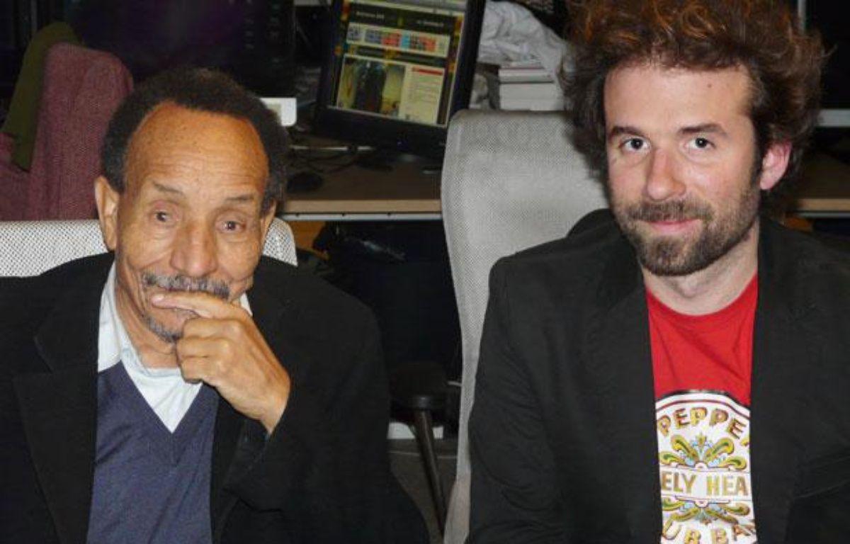 Pierre Rabhi (à gauche) et Cyril Dion (à droite) à la rédaction de 20 Minutes – D.R.