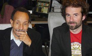 Pierre Rabhi (à gauche) et Cyril Dion (à droite) à la rédaction de 20 Minutes