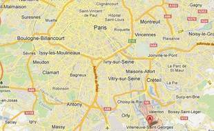 Google map de Villeneuve-Saint-Georges, dans le Val-de-Marne.