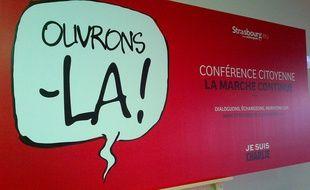 """La campagne """"Ouvrons-la!"""" pour la conférence citoyenne de Strasbourg."""