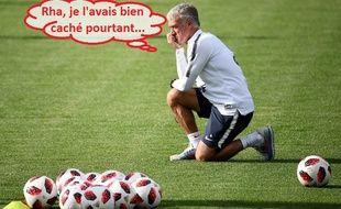 Didier Deschamps en pleine réflexion avant France-Belgique, le 7 juillet 2018 à Istra.