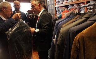 Paris, le 17 mai 2017,  Chez Jonas et Cie. Le président Emmanuel Macron se fournit en costume depuis deux ans dans ce magasin.