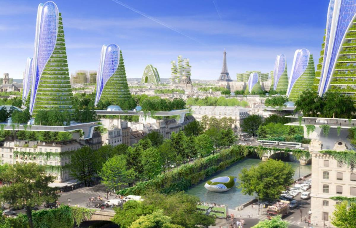 Vue panoramique de ce qu'imaginent  l'architecte Vincent Callebaut et les ingénieurs de Setec bâtiment pour Paris en 2050. – Image Vincent Callebaut Architecte (VCA)