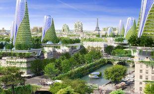 Vue panoramique de ce qu'imaginent  l'architecte Vincent Callebaut et les ingénieurs de Setec bâtiment pour Paris en 2050.