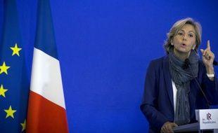 Valérie Pécresse,  tête de liste Les Républicains-UDI-MoDem aux élections régionales en Ile-de-France, le 10 octobre 2015 à Paris