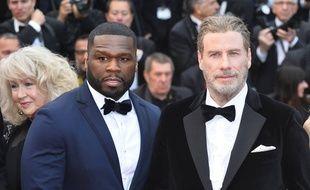 Les acteurs Curtis Jackson (plus connu sous son nom de rappeur, 50 Cent) et John Travolta au Festival de Cannes