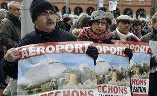 Manifestation des opposants à la privatisation de l'aéroport Toulouse-Blagnac, le 31 janvier 2015, à Toulouse.