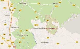 Localisation de Belmont-Sainte-Foi, dans le Lot.