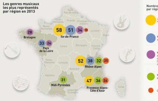 Festivals de musique en France en 2013: Les genres musicaux les plus surreprésentés par région en 2013.
