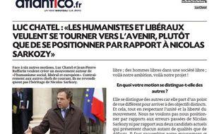 Capture d'écran de la fausse interview de Luc Chatel donnée à Atlantico et republiée par BFM TV, le 25 septembre 2012.