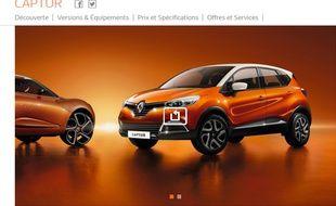 Capture écran du site http://www.renault.fr , véhicule de la gamme Captur, le 19 janvier 2016.