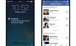La fonctionnalité «Amis à proximité» sur l'application Facebook.