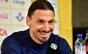 Zlatan Ibrahimovic en conférence de presse pour son retour en équipe de Suède, le 22 mars 2021.