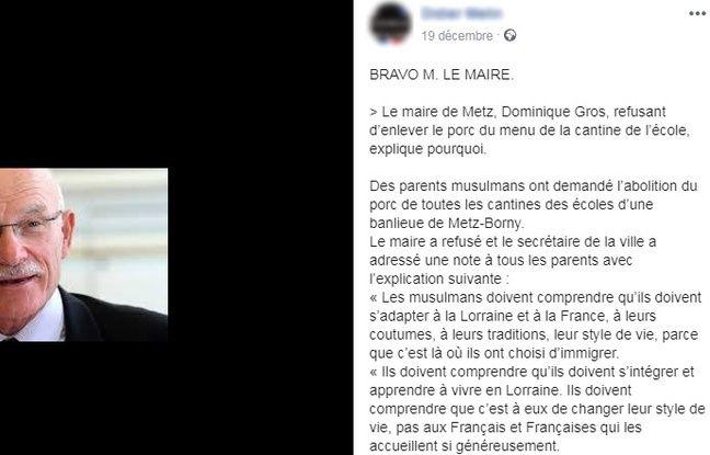 Ce post Facebook prête de faux propos au maire de Metz, Dominique Gros.
