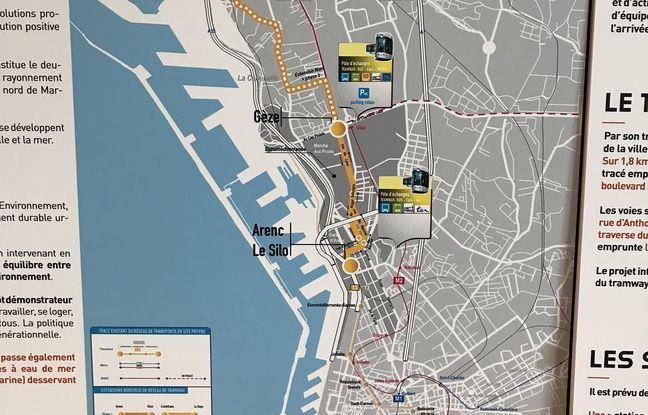 Le tracé du prolongement du tram au nord de Marseille (la phase 2 est en pointillé).