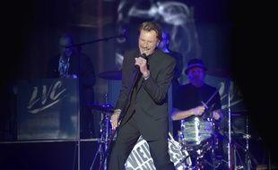 Johnny Hallyday au concert des Vieilles Canailles à Paris le 6 novembre 2014