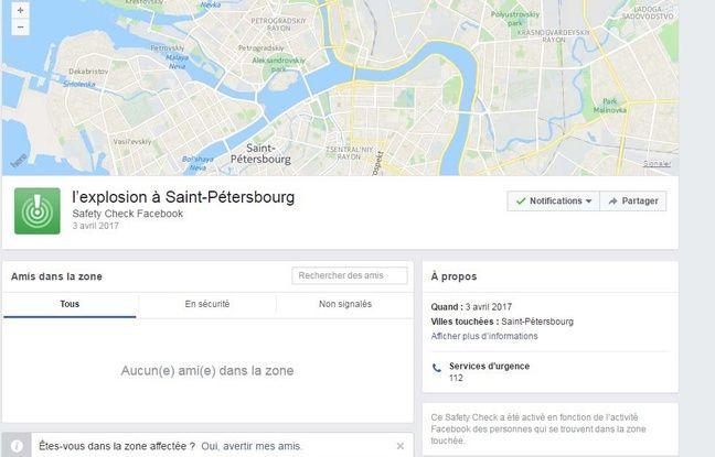 Capture d'écran de facebook qui a déclenché son safety check après l'explosion dans le métro de Saint-Pétersbourg.