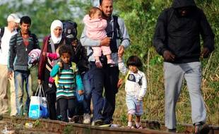 Des familles de migrants en Hongrie, le 24 août 2015