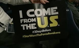 Le beau panneau des fans de Star Wars à la projection du film