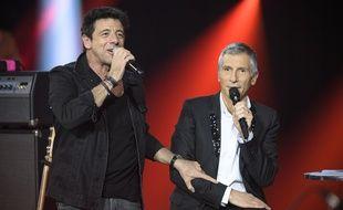 Patrick Bruel et Nagui durant le concert «Taratata 100% Live au Zénith».