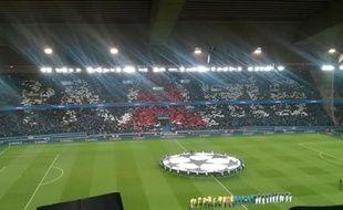 Le tifo déployé au Parc des Princes pour le match entre PSG et Chelsea le 17 février 2015.