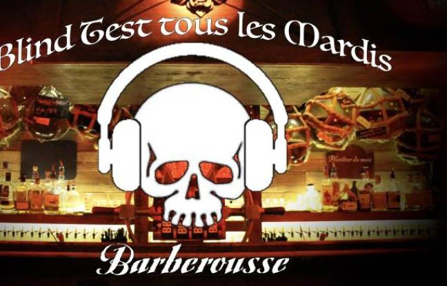 Tête de mort et casque aux oreilles pour le Blind Test du Barberousse