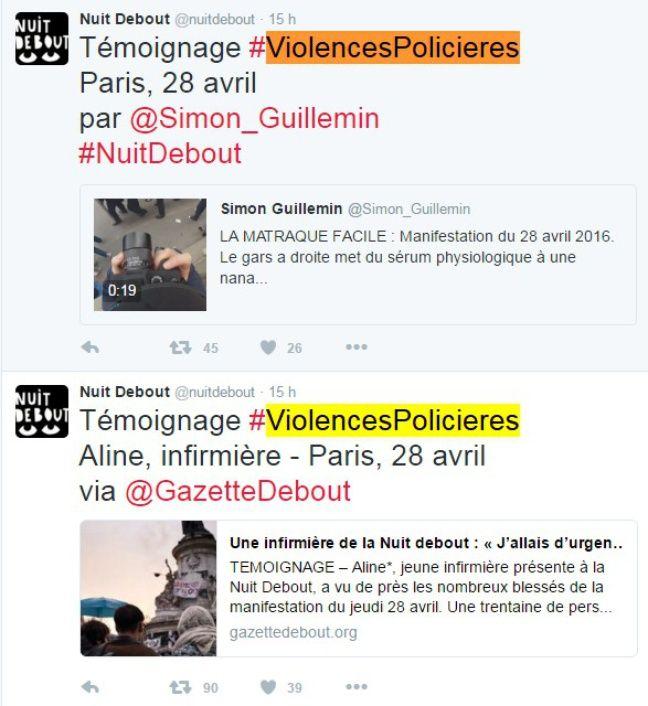 Des témoignages de violences policères relayés sur le compte Twitter du mouvement #NuitDebout le 2 mai 2016.