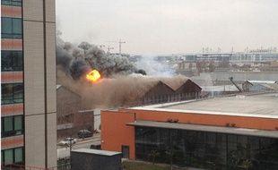 Incendie d'un camp de Roms à Aubervilliers, le 22 février 2013.