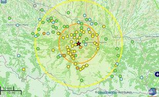 La carte du bureau sismologique français après le séisme de Lourdes le 29 avril 2014.