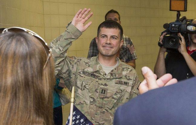 Pete Buttigieg à son retour d'Afghanistan en 2014.