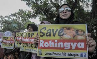 Manifestation le 21 mai 2015 devant l'ambassade de la Birmanie à Kula Lumpur, la capitale de la Malaisie, pour dénoncer les persécutions contre les Rohingyas