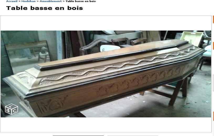 bretagne il vend un cercueil comme table basse sur le bon coin. Black Bedroom Furniture Sets. Home Design Ideas