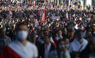 Manifestations à Minsk, le 20 septembre, contre la réelection du président Loukachenko.