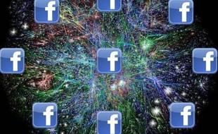 Une cartographie partielle de l'Internet et le logo Facebook