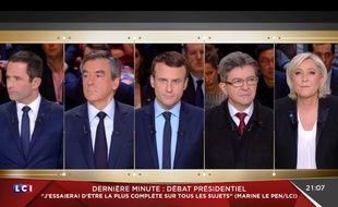 Le premier débat télévisé de l'élection présidentielle 2017 (capture LCI).