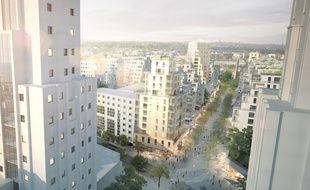 Perspective d'ambiance de la rue Henri Barbusse concernant le projet d'extension du centre-ville de Villeurbanne.