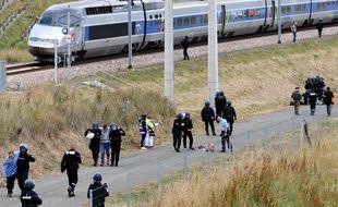 (Photo d'illustration) Une simulation d'attaque terroriste contre un TGV à Auvers-le-Hamon, le 28 juin 2017.