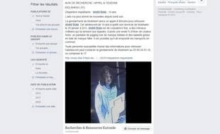 L'appel à témoins partagé par une page Facebook.