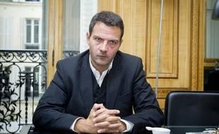 Jérôme Kerviel en interview dans le bureau de son avocat Me Koubbi, le 9 septembre 2013 à Paris.