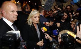 La présidente du Front national, Marine le Pen, comparait  devant le tribunal correctionnel de Lyon pour ses propos sur les prières de rue des musulmans qu'elle avait , en 2010, compares a l occupation. Crédit:Pascal Fayolle/SIPA