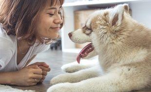 Illustration d'une femme avec un chien.