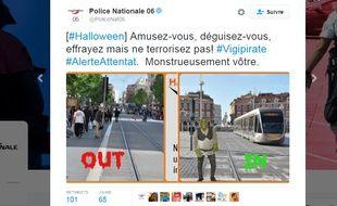 Capture d'écran d'un tweet de la Direction départementale de la sécurité publique des Alpes-Maritimes.