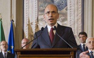 Enrico Letta, président du Conseil italien désigné, tient une conférence de presse le 27 avril 2013 pour présenter son équipe gouvernementale après deux jours de tractations.