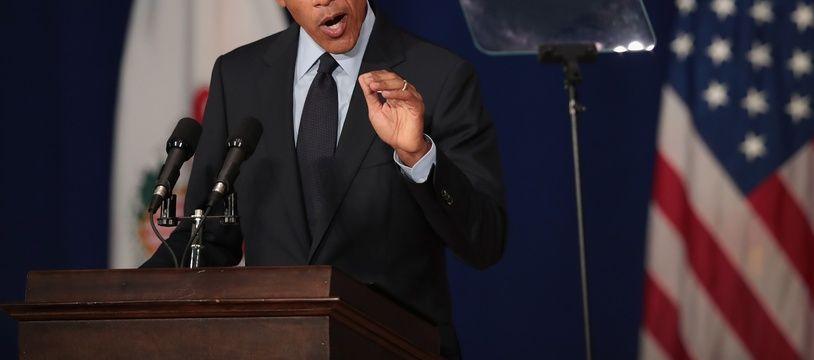 Barack Obama à l'université de l'Illinois, le 7 septembre 2018.