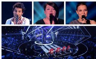 Amir, Mathilde et Anne Sila, ex-candidats de «The Voice» et le plateau de la cinquième saison du télécrochet.