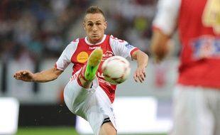 L'attaquant du Stade de Reims, Gaëtan Courtet, lors d'un match de Ligue 1 le 12 août 2012 contre Marseille.