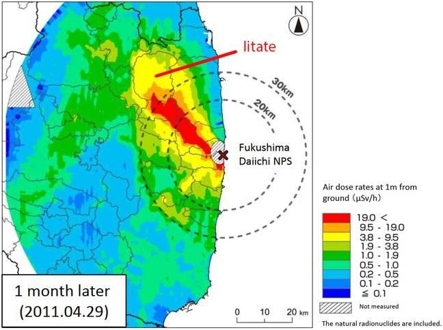 Les radiations dans une zone de 80km autour de la centrale de Fukushima Daiichi, le 29 avril 2011.